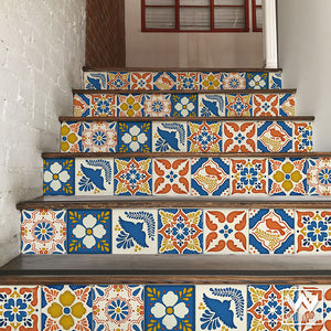 Colorful Mexican Talavera Tiles Design - DIY Stair Riser Decals for Decorating - Wallternatives