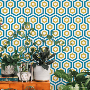 Modern Removable Wallpaper Geometric Hexagon Pattern Wall Pattern Wallternatives