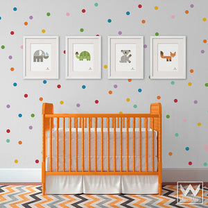 Colorful Rainbow Dots Vinyl Wall Decals - Circle Shapes Wall Stickers for Cute Unicorn or Confetti Themed Nursery - Wallternatives