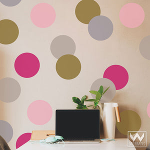Large Pink Dots Vinyl Wall Decals for Decorating DIY Girls Room or Nursery Wall Designs - Wallternatives