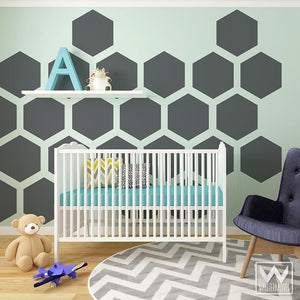 Honeycomb Bee Theme Nursery Wall Mural Large Hexagons Shapes Wall Decals - Wallternatives