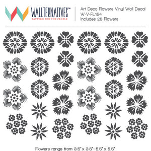 Art Deco Art Nouveau Retro Vintage Flowers Vinyl Wall Decals for Decorating - Wallternatives
