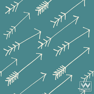 Blue Adhesive and Removable Wallpaper with Modern Tribal Arrows Patterns