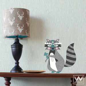 Cute Forest Animals and Raccoon Removable Wall Decals for Boys Nursery Decor - Wallternatives