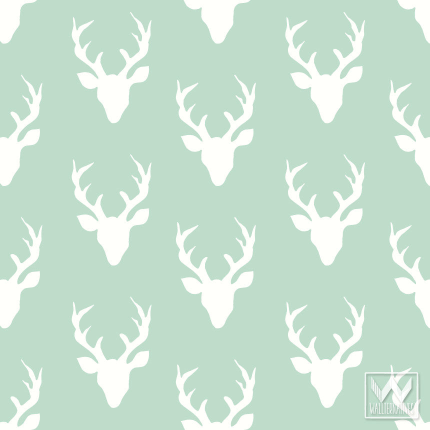 ... - Deer heads and deer antlers removable wallpaper - Wallternatives