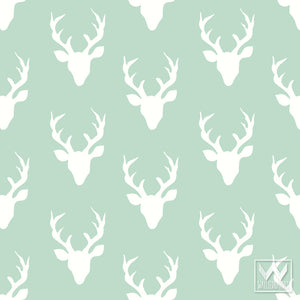 Decorating a Boys Room or Nursery with cute rustic charm - Deer heads and deer antlers removable wallpaper - Wallternatives