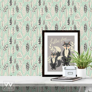 Modern Tree Leaves Removable Wallpaper Patterns from Wallternatives