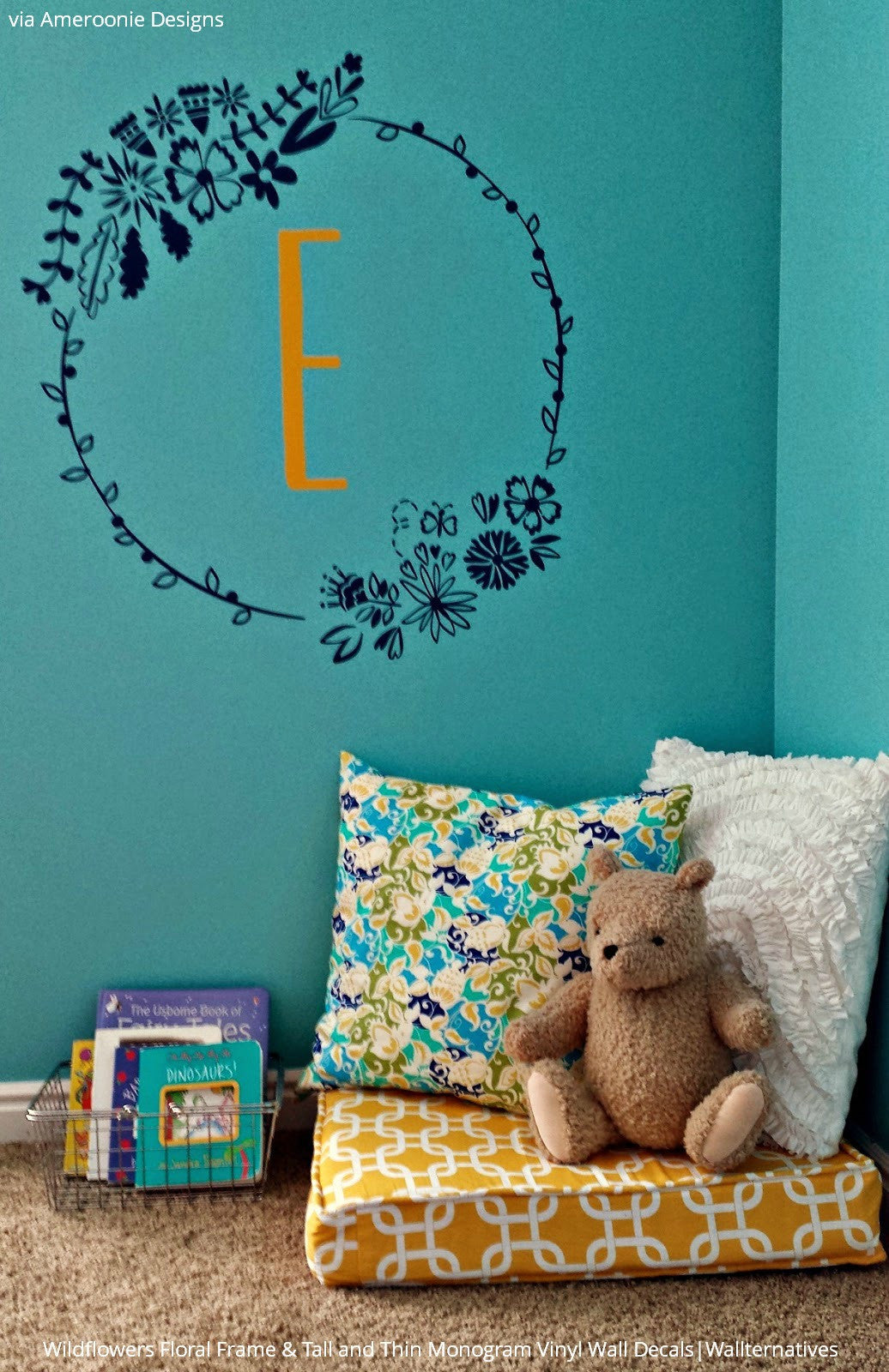 wall art decals for wall decoration vinyl wall stickers wall floral frame wall decal monogram initial wall sticker wallternatives