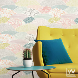 Modern, Trendy, Designer Wallpaper You Peel and Stick for Fast Easy Wall Decor on Kids Room or Nursery Accent Wall - Wallternatives