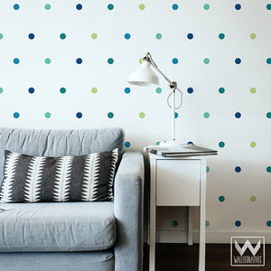 Blue and Green Confetti Polka Dots Circles Vinyl Wall Decals - Wallternatives