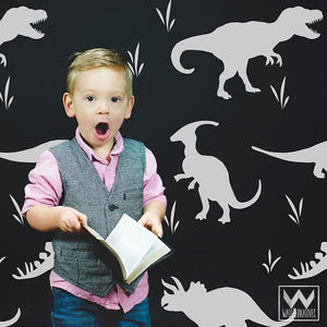 Large Dinosaurs Vinyl Wall Decals for Decorating Cute Boys Room or Nursery Wall Mural Art - Wallternatives