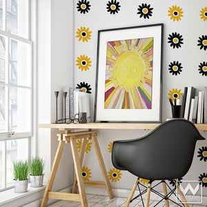 Modern Daisy Flowers Vinyl Wall Decals for Bedroom Dorm Room Wall Pattern - Wallternatives