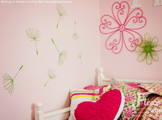 ... Dandelions And Flowers Vinyl Wall Decals For Pink And Green Girls Room  Decor