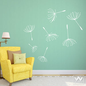Dandelions and Flowers Vinyl Wall Decals for Stick On Wall Murals