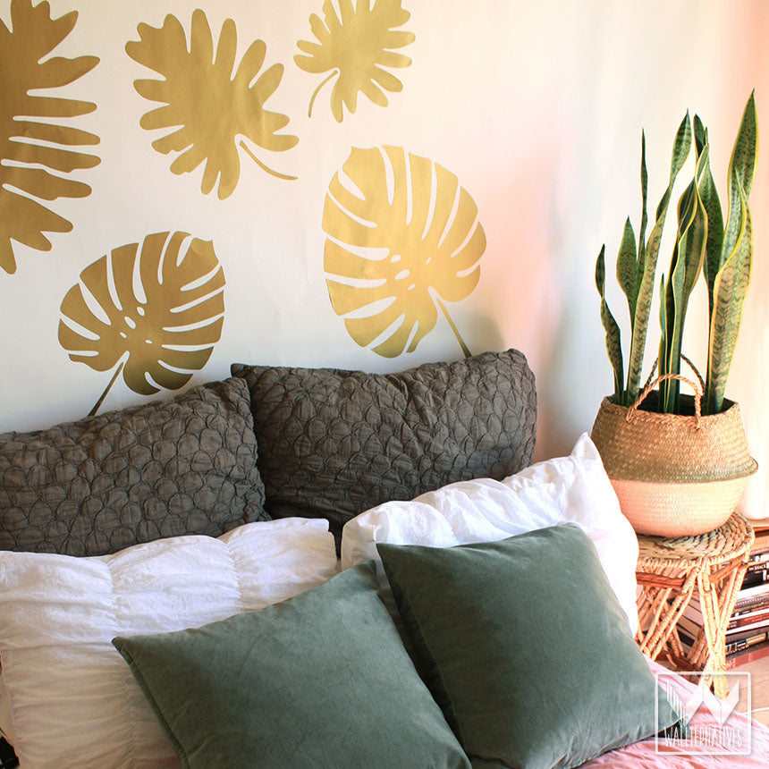 ... Large Monstera Leaves Palm Fronds Wall Decals   Jungalow Style Boho  Chic Room Decor   Wallternatives ...