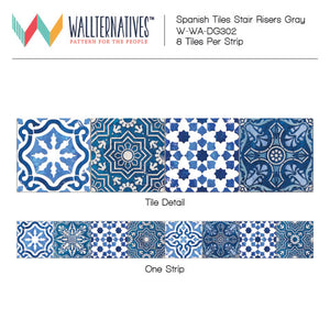 Peel and Stick Adhesive Pattern for Decorating Stairs - Blue and White Spanish Tile Decals - Wallternatives