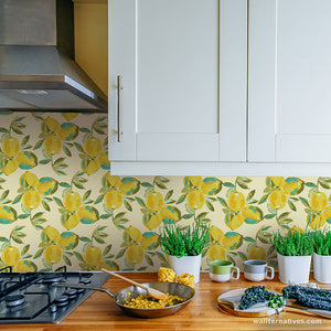 Modern Kitchen Lemons Decor with Peel and Stick Painted Wall Art Removable Wallpaper - Wallternatives