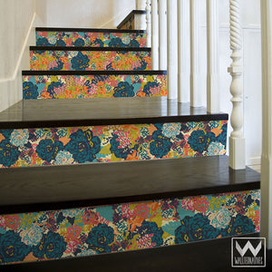 Bari J Flower Pattern Removable Decals for Decorating Bold Colorful Stair Risers - Wallternatives Peel and Stick Desigs