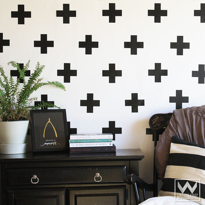 ... Simple Modern Black And White Teen Dorm Decor   Plus Sign Cross X Shape  Vinyl Removable ...