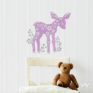 Cute Nursery and Kids Room Decor - Forest Animals Deer Vinyl Wall Decals