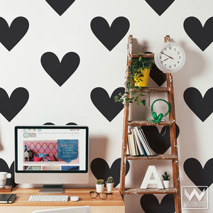 Large Hearts Vinyl Wall Decals for Dorm Room, Bedroom, or Nursery Wall Art - Wallternatives