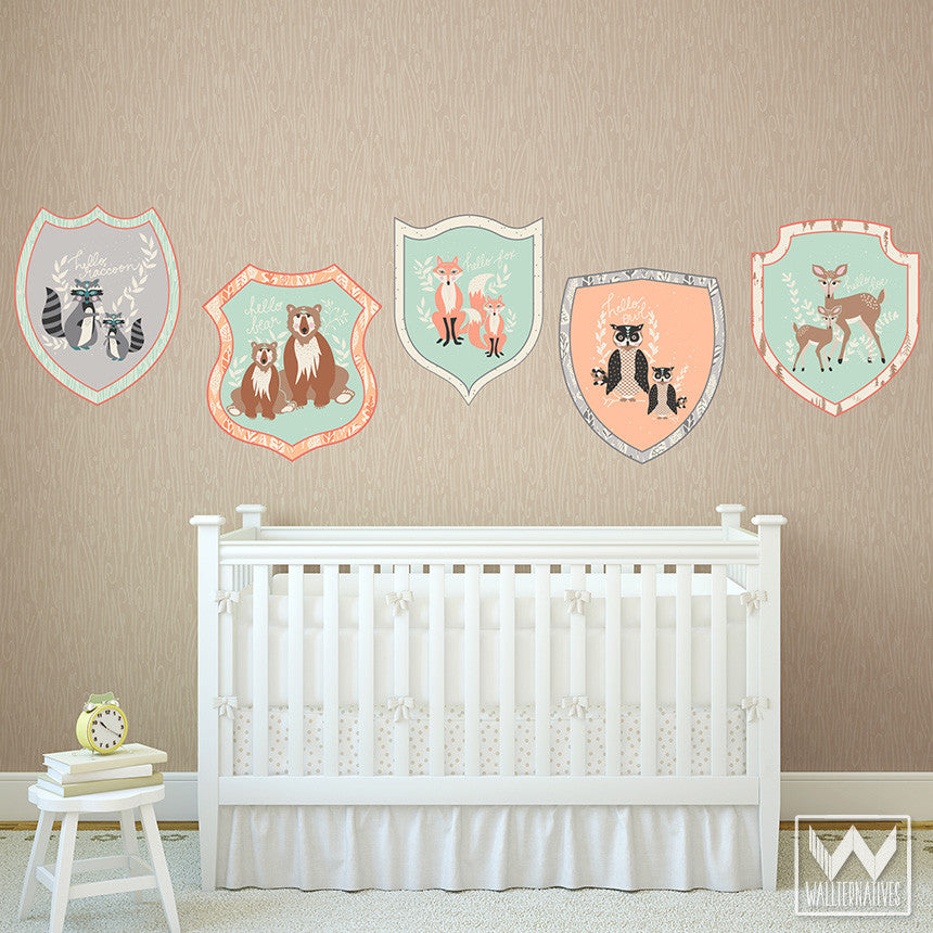 Forest Animal Badges Removable Wall Decals For Cute Wall