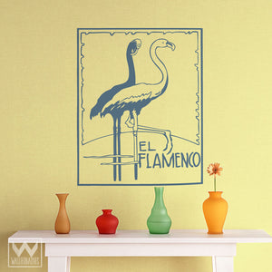 Retro and Vintage Flamingo Poster Vinyl Wall Decals
