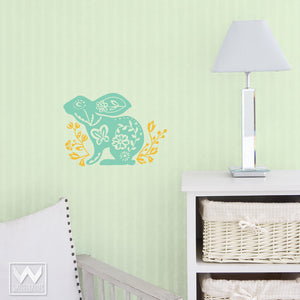 Flower and Bunny Vinyl Wall Decals for Cute Nursery Decor - Wallternatives