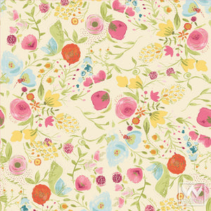 Floral Flower Removable Wallpaper - Vintage Shabby Chic Designs by Wallternatives