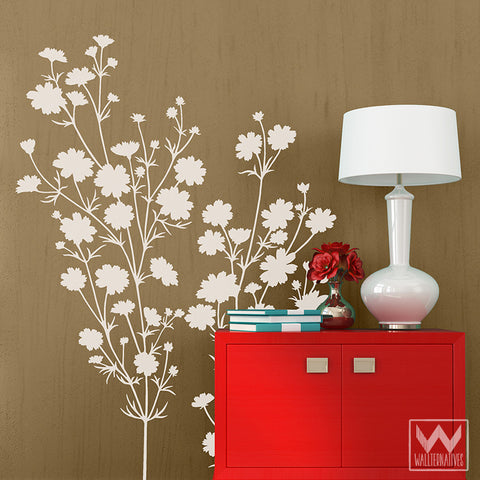 Flowers Floral Vinyl Wall Decals For Easy DIY Wall Art Murals    Wallternatives