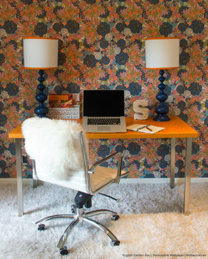 Floral Flower Removable Wallpaper - Retro Room Decor from Wallternatives