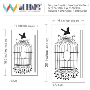 Flying bird cage wall decal for vintage home decor - Wallternatives