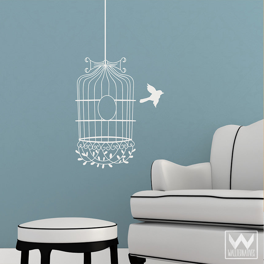 Wall art decals for wall decoration vinyl wall stickers for Birdcage bedroom ideas