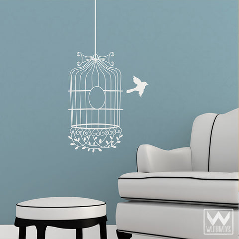 Flying The Coop Bird Cage Vinyl Wall Decal Kitchen Living
