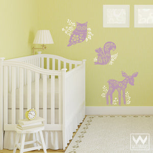 Forest Animals Vinyl Wall Decals for Cute Nature Nursery Decor - Wallternatives