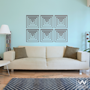 Decorate Walls with Peel and Sticks Designs - Geometric and Modern Squares Vinyl Wall Decals - Wallternatives