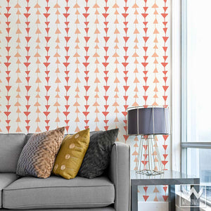 Pink Modern & Geometric Triangles Pattern on Removable and Adhesive Wallpaper from Wallternatives