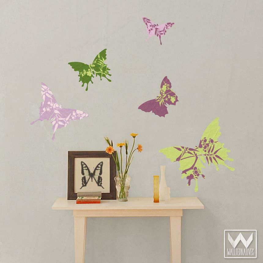 Floral Removable Wall Decals Wallternatives - Wall decals butterfliespatterned butterfly wall decal vinyl butterfly wall decor