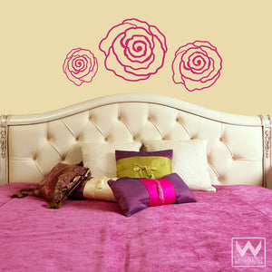 Graphic Roses and Modern Flowers Vinyl Wall Decals for Dorm or Girls Room Decor - Wallternatives