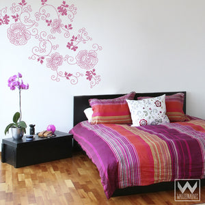 Graphic Rose Modern Flower Vinyl Wall Decals for Girls Room or Dorm Decor - Adhesive Removable Wall Decals - Wallternatives