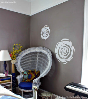 Modern Dorm Decor and Girls Room Decor - Graphic Roses Vinyl Wall Decals