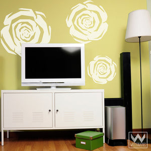 Modern Flowers and Retro Roses - Colorful Vinyl Wall Decals from Wallternatives