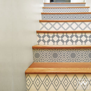 Gray and White Moroccan Stairs Design - DIY Stair Riser Decals for Decorating - Wallternatives