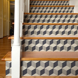 Tumbling Blocks Stair Riser Decals: Gray