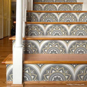 Medallion Stair Riser Decals: Gray