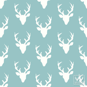 Trendy Wallpaper Ideas for Boys Room or Nursery Decor - Rustic Deer Heads and Deer Antlers - Wallternatives