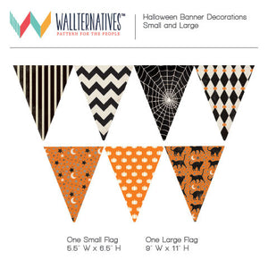 Halloween Decorations - Patterned Holiday Bunting Flags Removable Wall Decals