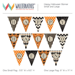 Happy Halloween Banner Bunting Flags Removable Wall Decals