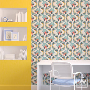 Cute Bee Modern Removable Wallpaper - Girls Room or Boys Room Decor by Wallternatives