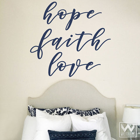 Hope Faith Love Wall Art Stickers And Vinyl Wall Decals For Bedroom Decor    Wallternatives